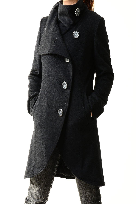 Idea2lifestyle Women's Cashmere Coat Crystal Buttoned Black