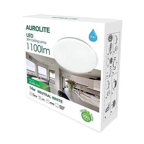 AUROLITE LED Super Slim 14W IP44 Lámparas de techo, Ø 26cm, 4000K, 1100LM, Impermeable, Iluminación para baño, Cocina, Recibidor, Oficina, Luz de ...