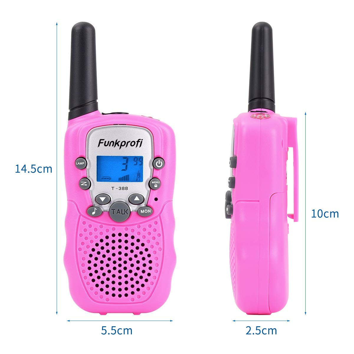 Funkprofi Walkie Talkies for Kids 22 Channels Long Range Rechargeable Walkie Talkies with Battery and Charger, Gift for Boys and Girls, 1 Pair (Pink) by Funkprofi (Image #2)