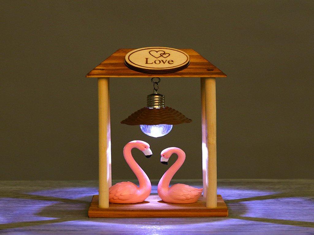 Creative Flamingo Nightlight Wooden Nightlight Decoration Resin Crafts