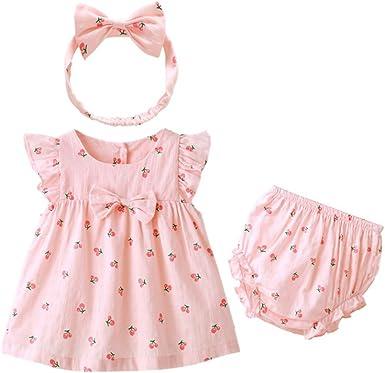 FYX 3Pcs Vestido Algodón para Niñas/Bebé Vestido Pink Dibujo de ...