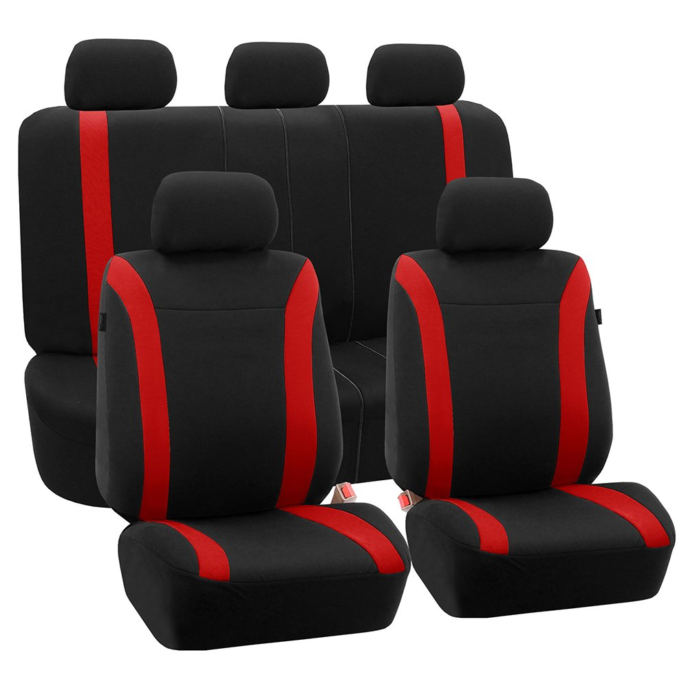 FH Group FH-FB054115 Gray Cosmopolitan Flat Cloth Seat Covers Truck Gray//Black Color-Fit Most Car or Van SUV Airbag Compatible and Split Bench