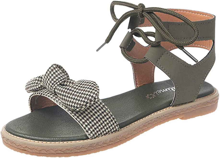 AIMTOPPY Womens Summer Bohemian Cross-Tied Bowknot Flat Beach Sandals Casual Roman Working Shoes