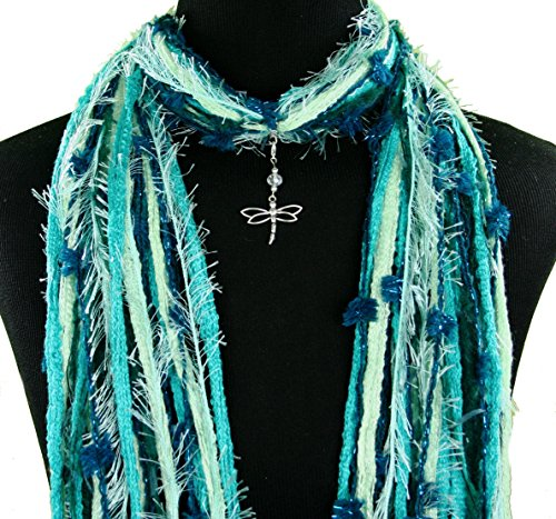 Dragonfly Jewelry Pendant Necklace Scarf ~ Blue Green Purple Beige ~ Many Scarf Colors Available ~ All Season ~ Detachable Pendant Option