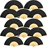Bememo 12 Pack Hand Held Fans Silk Bamboo Folding Fans Handheld Folded Fan for Church Wedding Gift, Party Favors, DIY Decoration (Black)