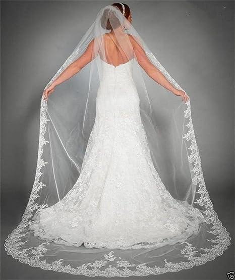 Brautschleier 3 Meter Eins Schicht Lange Spitze Braut Schleier Hochzeit Schleier Dom Braut Schleier Weiß Elfenbein