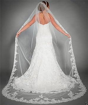 dad67ea487f916 Brautschleier 3 Meter Eins Schicht Lange Spitze Braut Schleier Hochzeit  Schleier Dom Braut Schleier Weiß Elfenbein