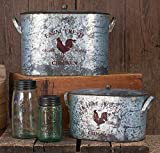 Farm Fresh Chicken Metal Buckets – Set of 2 For Sale