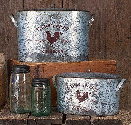 Farm Fresh Chicken Metal Buckets – Set of 2 For Sale