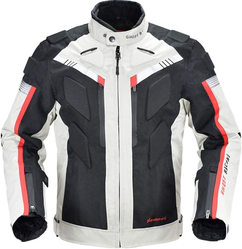 LALEO Cuatro Estaciones Chaqueta de Moto, Impermeable Resistente con Forro Cálido Extraíble Armours y Reflexivo Chaqueta para Motocicleta M-3XL Blanco Negro