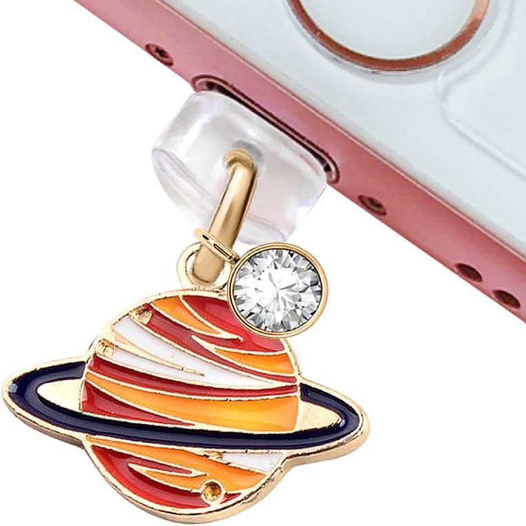 CP204 USB Charging Port Anti Dust Plug Cute Little Saturn Planet Pendant Phone Charm for iPhone 11// XS MAX//XR//X//8 Plus//7//6S//8//SE iPad iPod