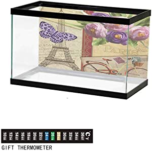 Aquarium Background,Poster Fish Tank Background,Eiffel Tower with Tulip and City Silhouette Nostalgic Town Floral Romantic Underwater Poster Fish Tank Wall Decorations Sticker