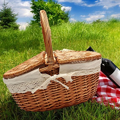 KINGSO Wicker Willow Picnic Basket Shopping Storage Basket Shopping Hamper with Lid and Handle (Picnic Basket Wicker)