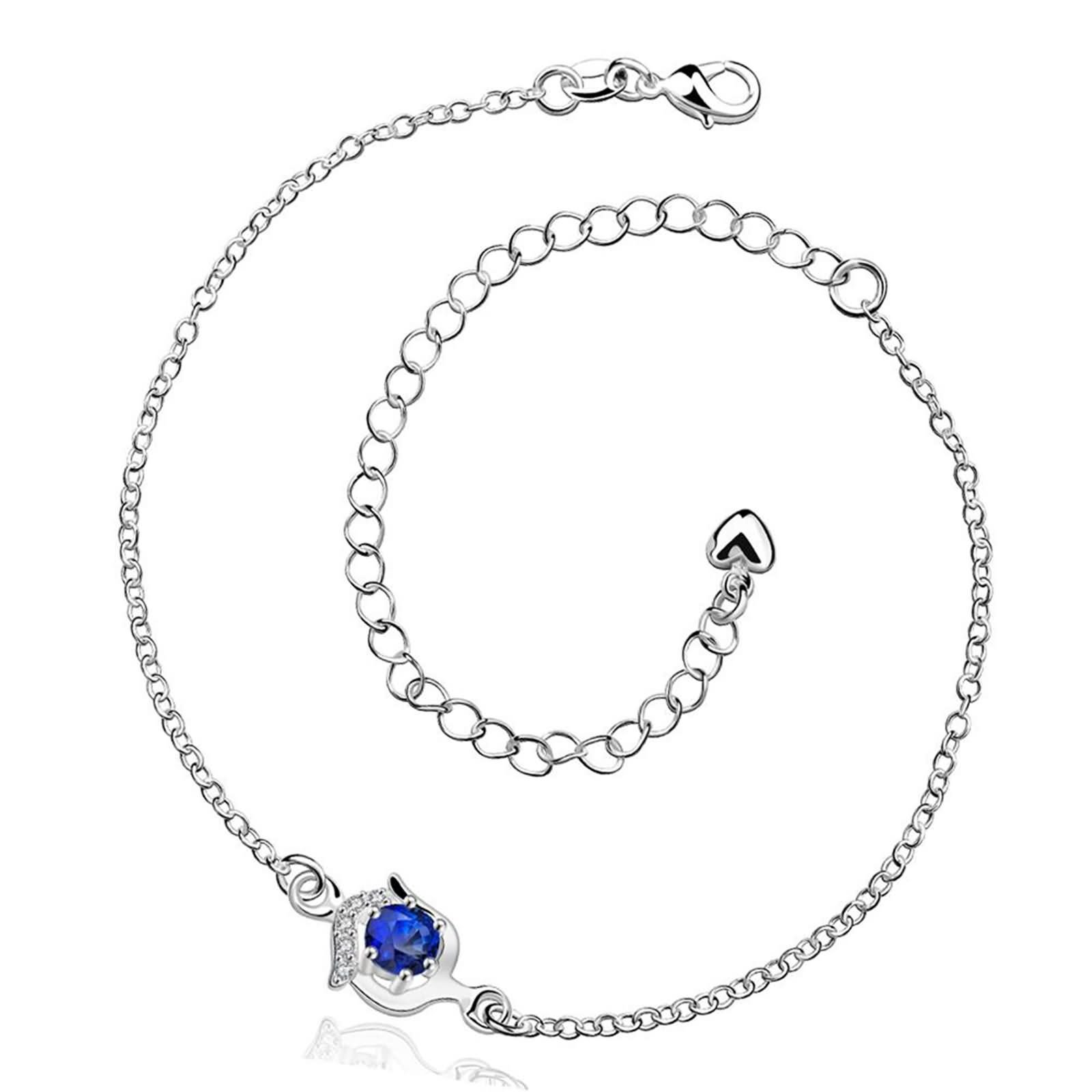 Bishilin Beach Foot Jewelry Wedding Round Cubic Zirconia anklet extender 2 CM
