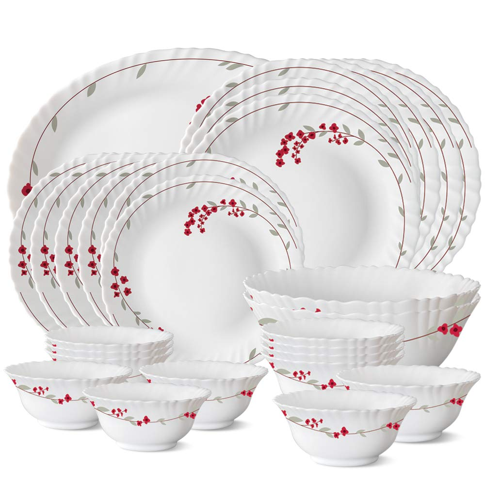 Larah by Borosil Verona Opalware Dinner Set, 27-Pieces, White
