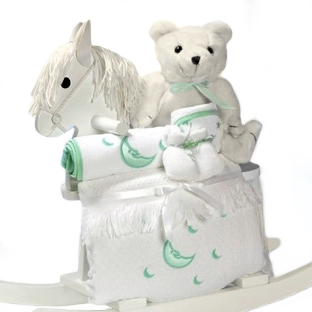 White Rocking Horse Baby Gift Set - Includes Stuffed Bear & Layette in Gender Neutral Green Accents