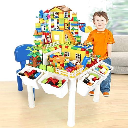 Sillas De Mesa De Actividades 5 En 1 con Tablero De Escritura/Lego/Arena/Agua/Almacenamiento, Mesa De Juego De Construcción De Actividades Multipropósito Y 2 Juegos De Sillas: Amazon.es: Hogar