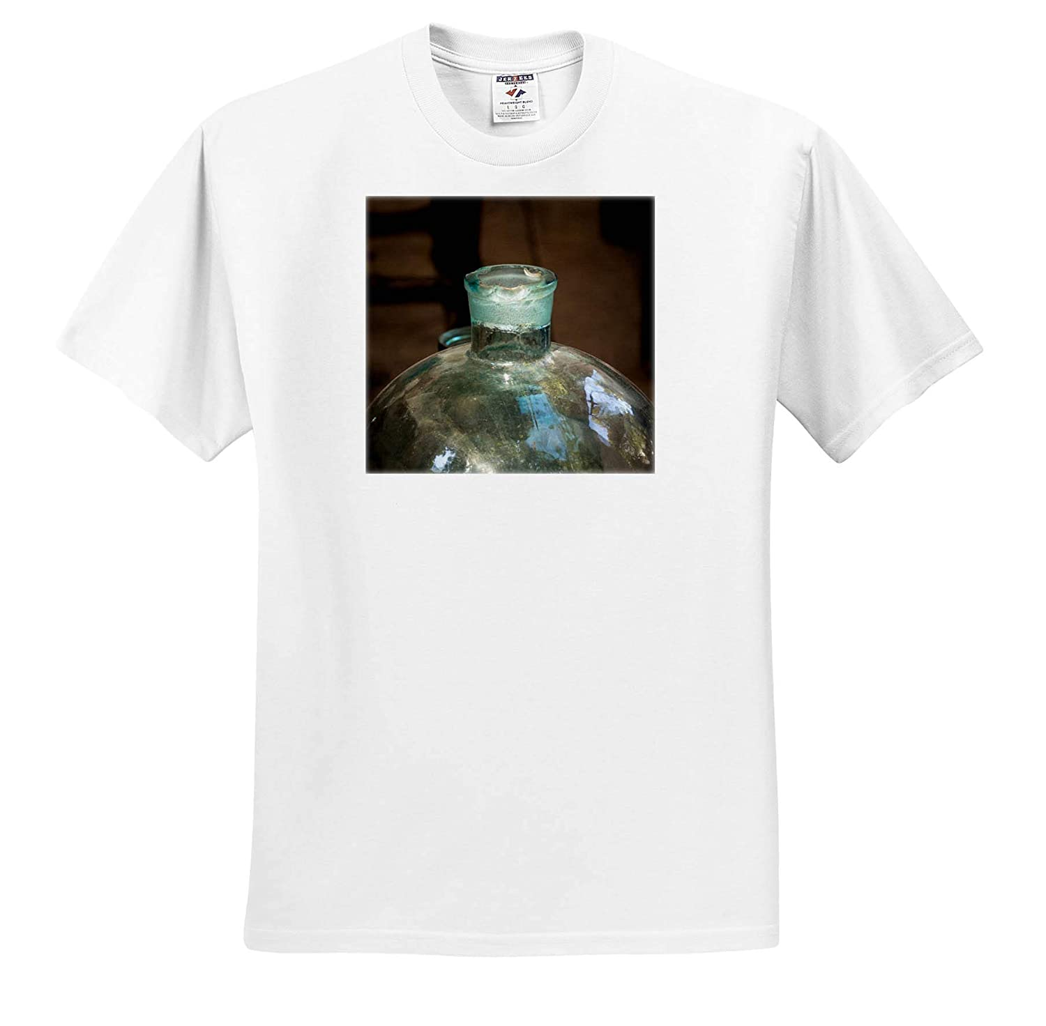 3dRose Alexis Photography - Large Vintage Used Glass Bottle T-Shirts Historic kitchenware Ground Neck Objects Misc