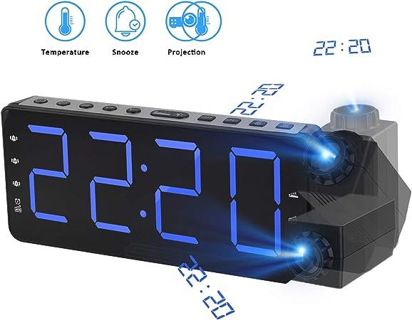 TINMIU Radio Despertador Digital Proyector,FM Radio Reloj ...