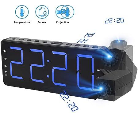 "TINMIU Radio Despertador Digital Proyector,FM Radio Reloj Despertadores Digitales de Proyección,4""Pantalla LED Curva &3 Brillo,[Dual Alarma con 3 ..."