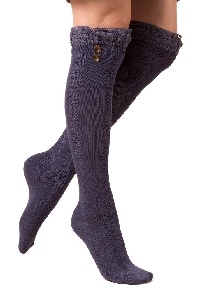 Simply Noelle Crochet Lace Seaglass Tall Socks