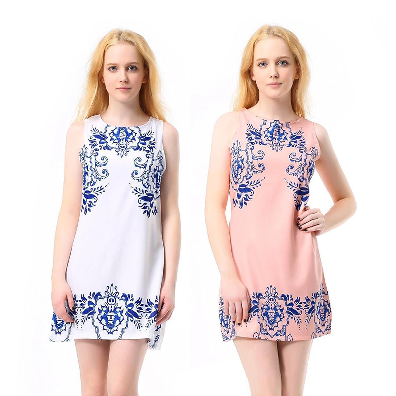 Anten® Lady weiss Cocktailkleid Partykleid Kleid mit Blau Blumen Ärmellos Über dem Knie Slim Fit süße und Elegant (M)
