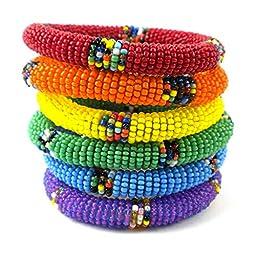 Global Handmade Crafts LGBT Maasai Bangle Set for Men in Rainbow Colors