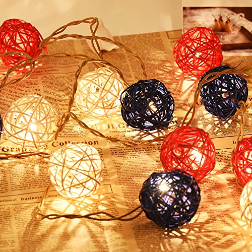 Emlyn Rattan Ball LED String Lights 14.8 Feet 20 LED Night Lights for Wedding Bedroom Party Decorations by Emlyn (Image #9)