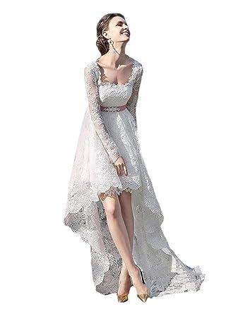 Spitze Brautkleider Hallo-Lo Brautkleid mit Ärmeln Einfache ...