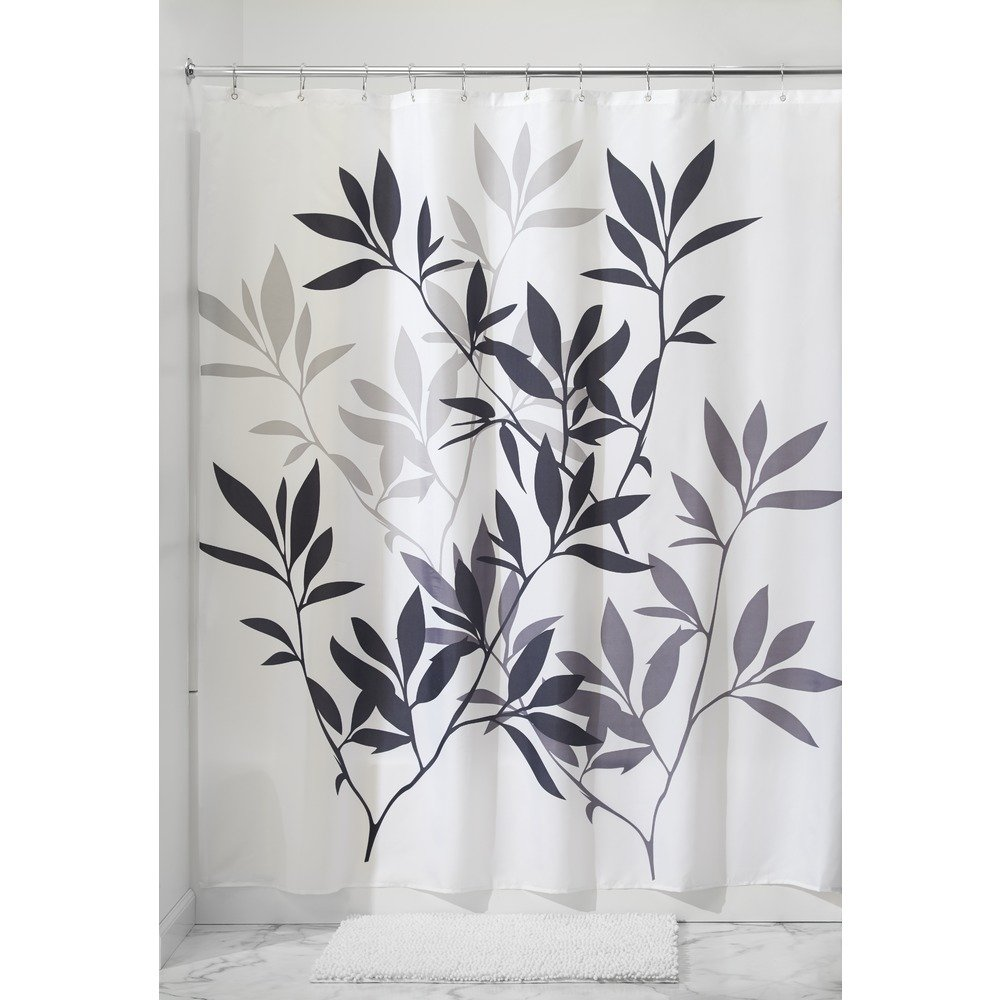 Amazon InterDesign Leaves Fabric Shower Curtain Black Gray White Kitchen Dining
