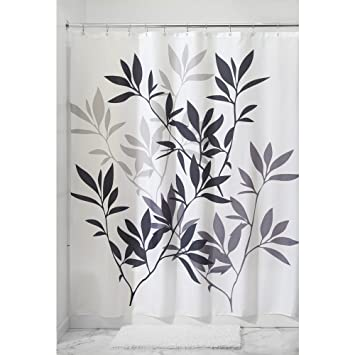 Perfect InterDesign Leaves Fabric Shower Curtain, Black/Gray/White