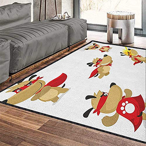 - Dog Large Rug Mat,Superhero Puppy with Paw Costume and Mystic Powers Laser Vision Supreme Talents Provides Protection and Cushion for Floors Red Cream White 71