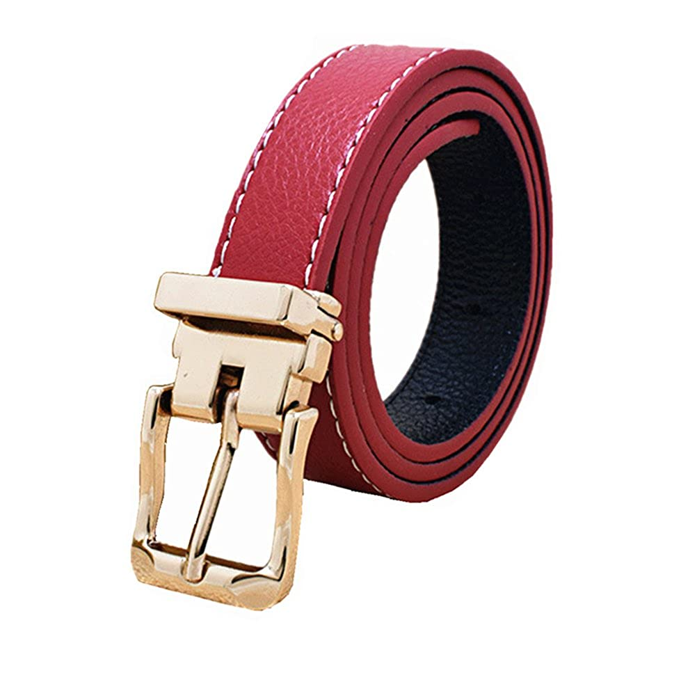 Kids Toddlers Faux Leather Belts Design For Boys Girls With Gold Removeable Buckle Black)