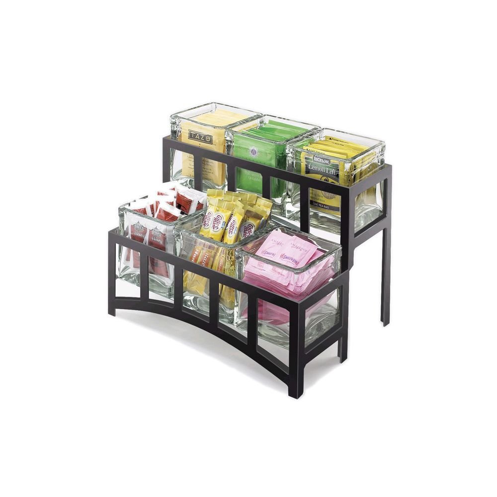 Cal-Mil 1723-13 Mission Jar Display, 2 Tier, 14'' Width x 9'' Depth x 7'' Height, Black by Cal Mil