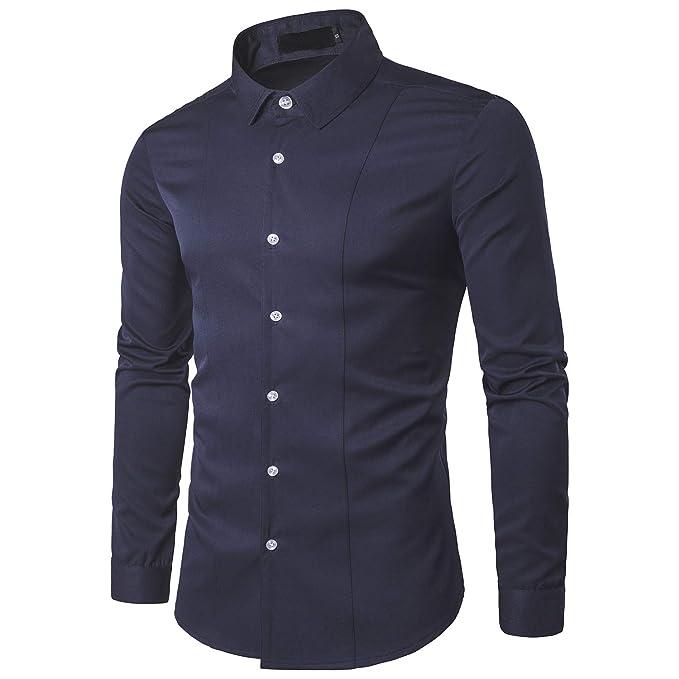 546a00d17 Camisa de Manga Larga para Hombre Camisas Clásicas de Negocios de Ocio Slim  Fit
