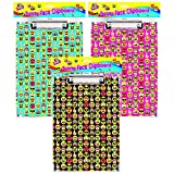 The Home Fusion Company A4 Funny Face Emoji Clipboards Clip Boards Pink Black Or Blue Office Documents