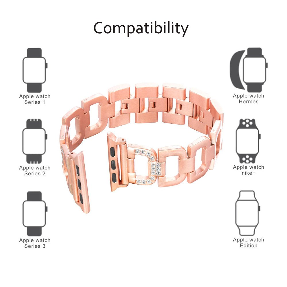 Ashipher Apple Watch Band,Alloy D&H-Shaped Length-adjustable Bling iWatch Band Inlaid with Rhinestone For Apple Watch 38mm&42mm Series 3/2/1,Sport,Nike+, Edition (Rose Gold, 42mm)