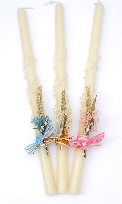vela de bautizo-flor espiral 52x2,5cm-POSIBILIDAD DE PERSONALIZAR CON EL NOMBRE Y LA FECHA DEL BAUTIZO EN ROSA, AZUL O DORADO