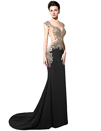 Sarahbridal Womens Prom Gowns Sexy Mermaid See Through Formal Evening Dresses SYD003 Black Size ...
