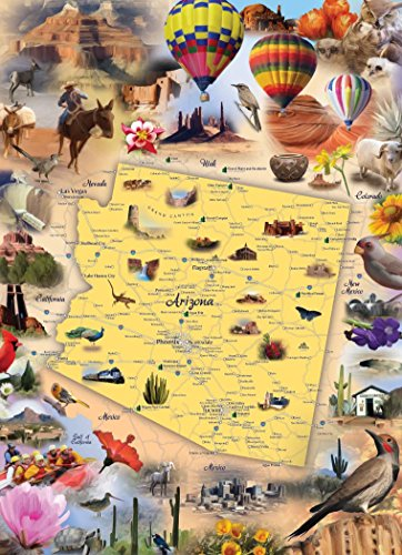 Arizona Map Jigsaw Puzzle - 1000 Piece - Map of the State of Arizona with Beautiful Illustrated Artwork by Hennessy Puzzles - Challenging Puzzle for Kids & Adults - Made - Sun Yuma Arizona Yuma
