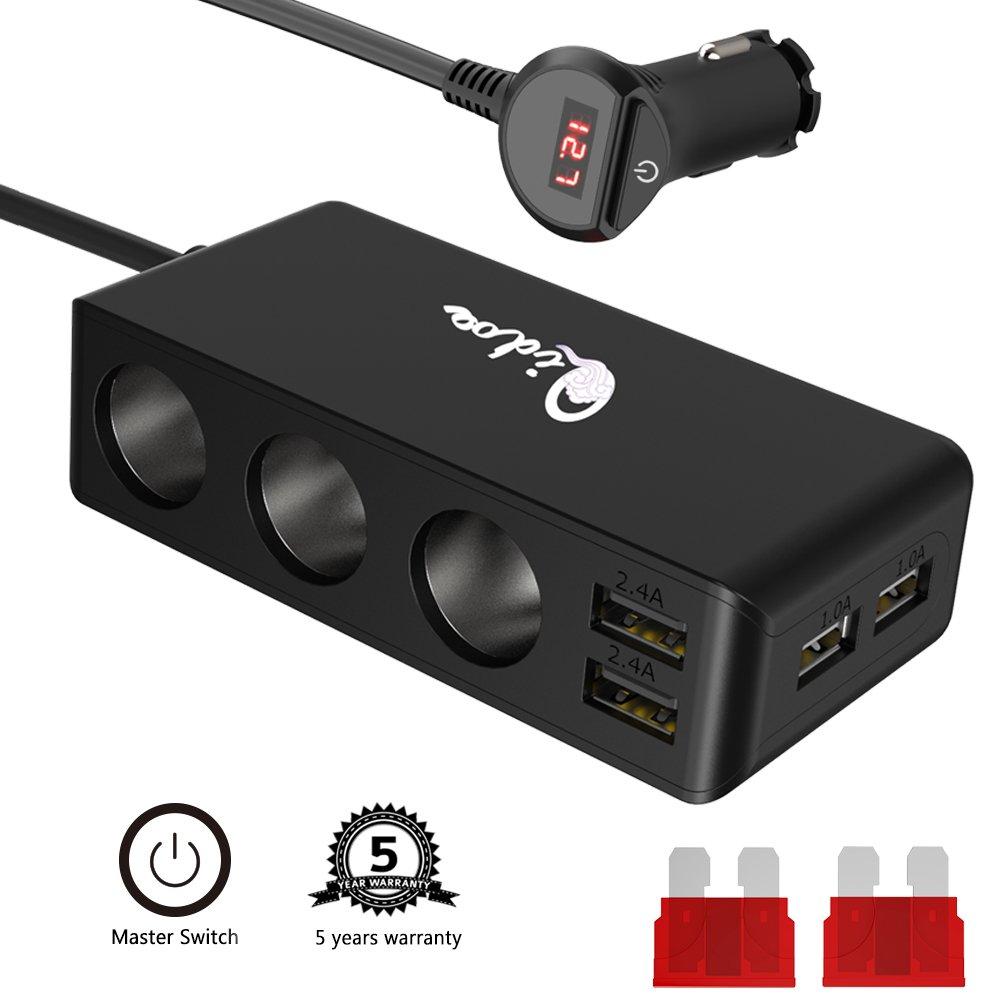 Cigarette Lighter Splitter USB Car Charger 3 Socket Multi Car Power DC Outlet Adapter 12V/24V 6.8A 120W 4 USB Port with LED Voltmeter Switch for Mobile Cell Phone Tablet GPS Dash Cam Black
