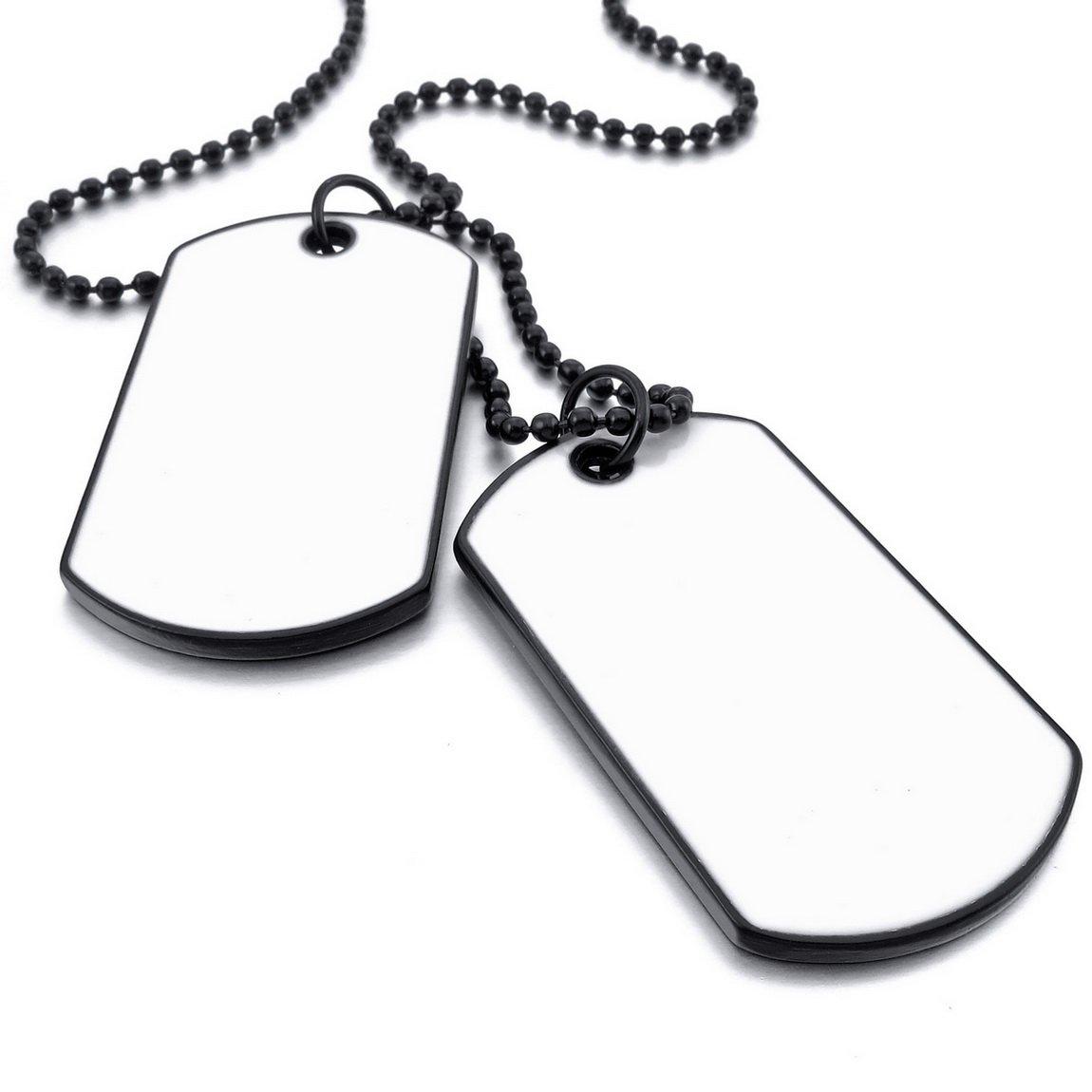 INBLUE Men,Women's 2PCS Alloy Pendant Necklace White Black Double Dog Tag Army Style Tribal 26 Inch Chain