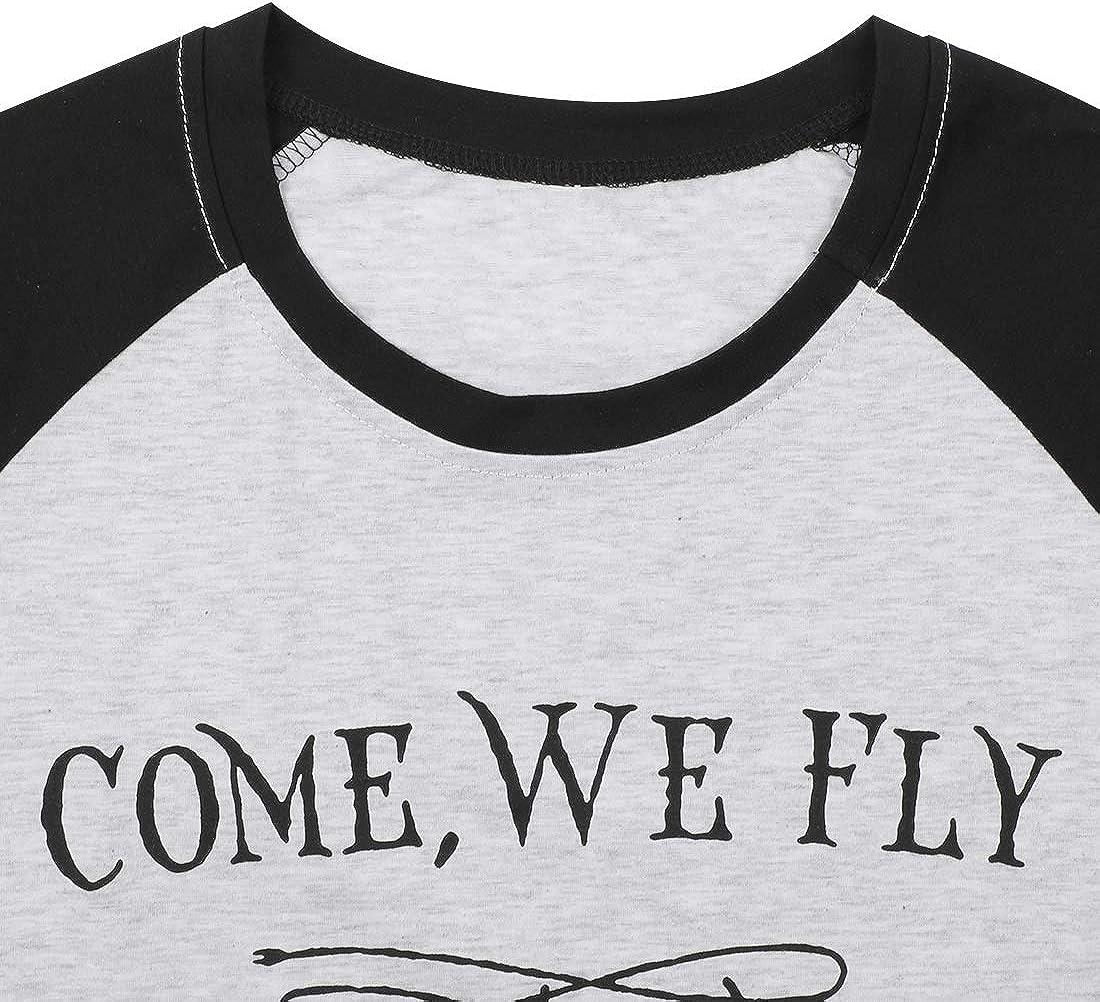 UNIQUEONE Come We Fly Halloween T-Shirt Women 3//4 Sleeve Baseball Shirts