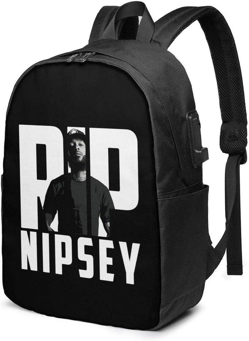 Nipsey+Hussle Rip Rap Laptop Backpack for Men/Women Travel Bag USB Charging