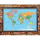 24x36 World Wall Map by Smithsonian Journeys - Blue Oceans Edition - Push Pin Travel Map Black Framed (24x36 Framed)