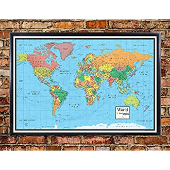 Amazon 32x50 rmc world classic wall map framed edition office 30x48 world wall map by smithsonian journeys blue ocean edition push pin travel map black framed 30x48 framed gumiabroncs Choice Image