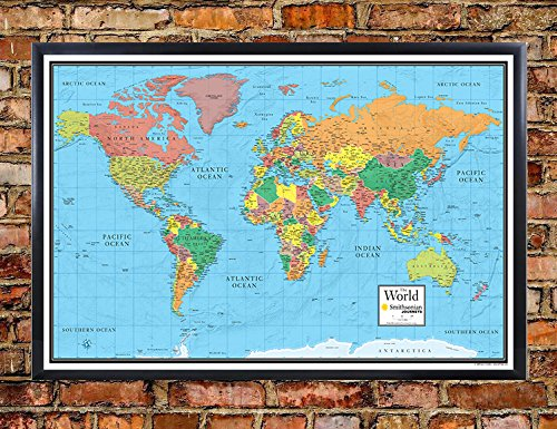 30x48 World Wall Map by Smithsonian Journeys - Blue Ocean Edition - Push Pin Travel Map Black Framed (30x48 Framed) (Framed Journey)