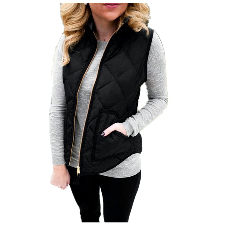 TOOPOOT Women Lady Black Sleeveless Jacket Waistcoat Outwears
