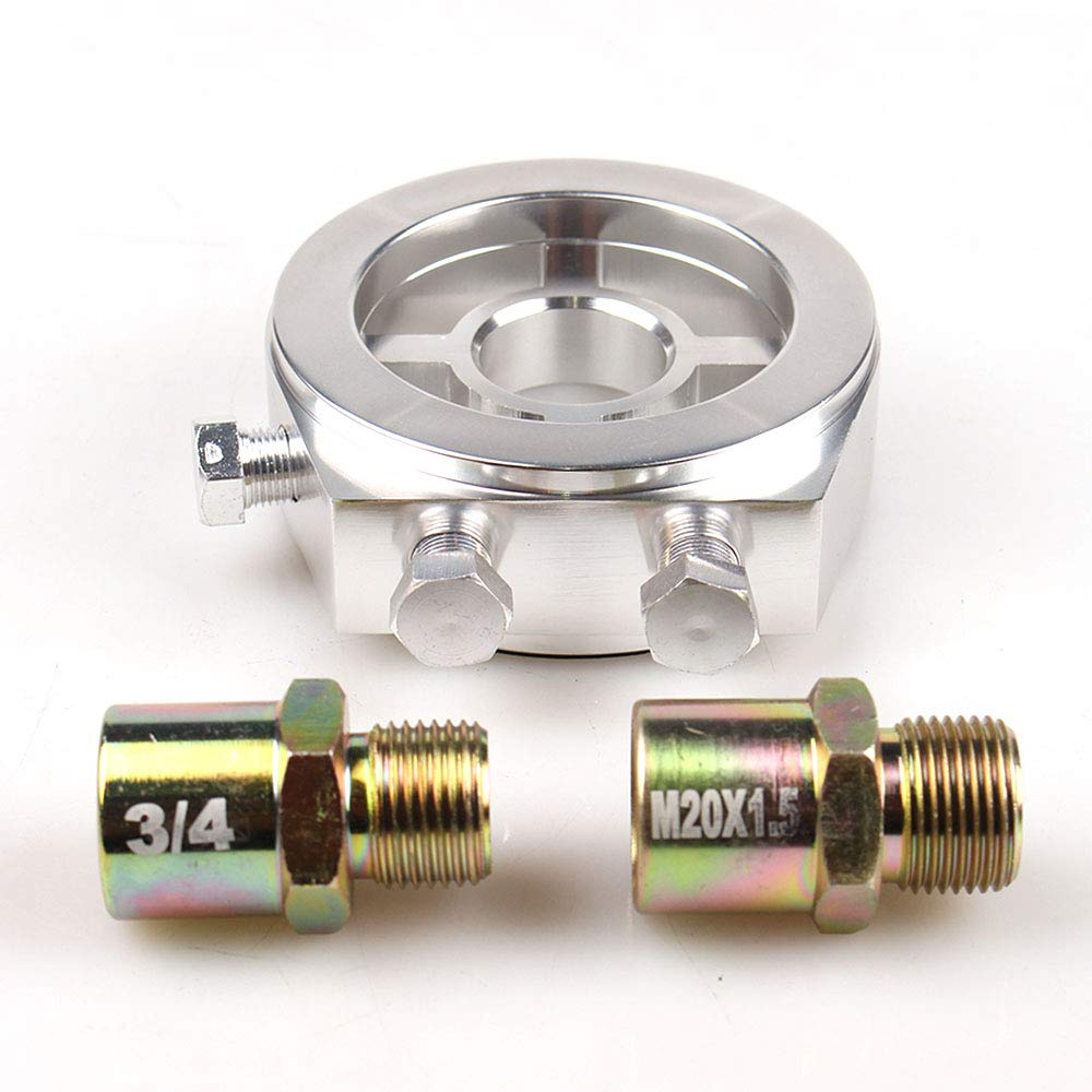 KET M20x1.5 Aluminum Oil Filter//Cooler Sandwich Block Adapter Gauge Sensor Plate Adapter 1//8 NPT