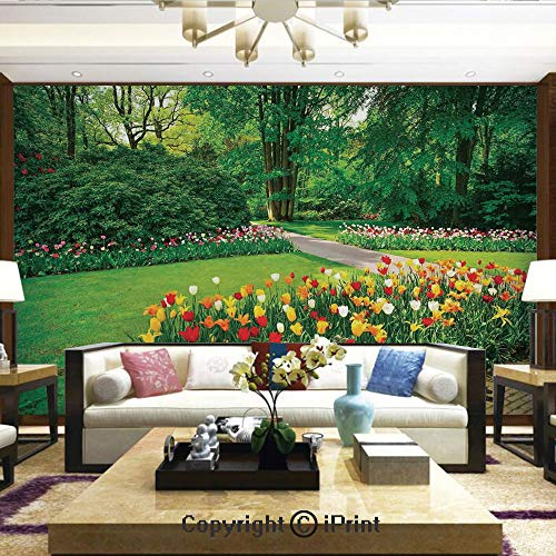 Lionpapa_mural Self-Adhesive Large Wallpaper Better Designs for Living Room,Garden with Tulip Flowers and Trees Springtime in Keukenhof Netherlands Europe,Home Decor - 100x144 inches